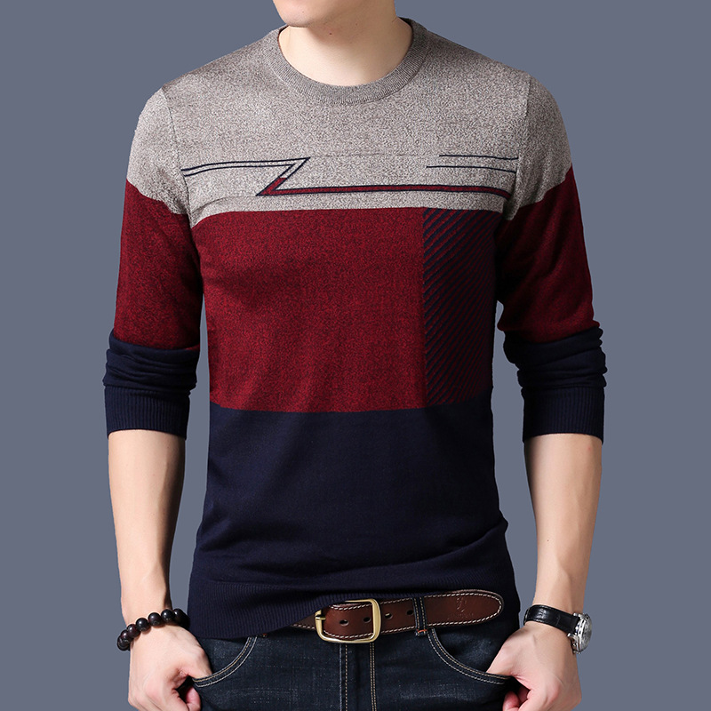LUX ANGNER Sweater Men Casual O-Neck Thin Sweaters Autumn Men Pullover Patchwork Quality Knitted Brand Male Sweaters