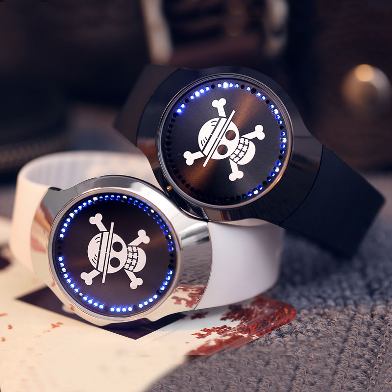 Cool Couples 2 Colors Touch Screen LED Wrist Watch Brand New Skull Dial Pattern 2017 Men Women Sport Watch W153704 stylish touch screen blue led wrist watch black 2 x cr2016