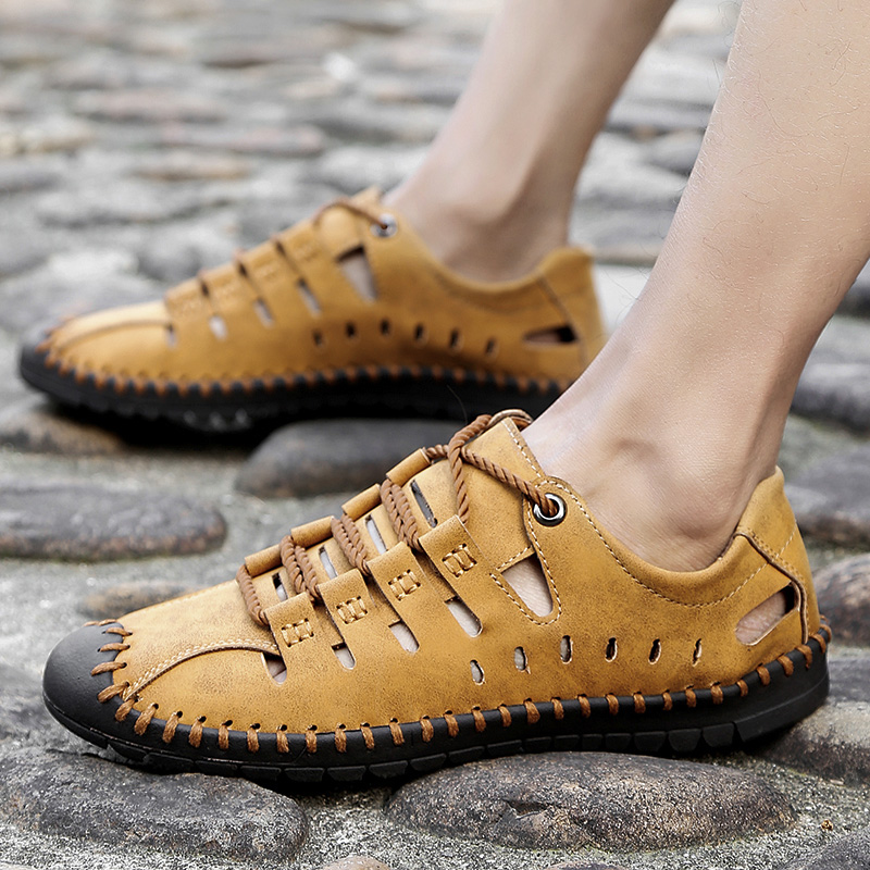 YRRFUOT High Quality Big Size Men's   Leather   Shoes Fashion Handmade Casual Shoes Summer Breathable Adult Trend Outdoor Shoes Man