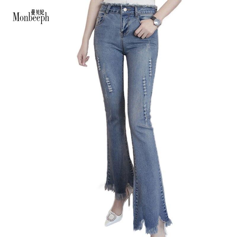 BRAND Slim Stretch High Waist Skinny Jeans Female Scratch Worn Feet Vintage tassel Blue Flare Pants Women Jeans Plus Size S-5XL