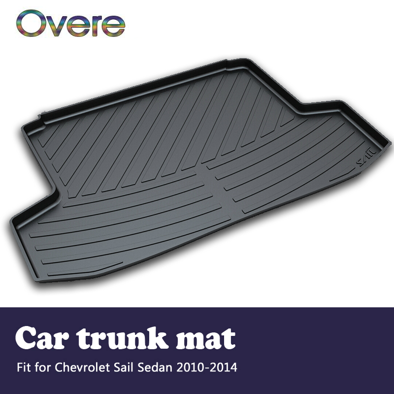 Overe 1Set Car Cargo rear trunk mat For Chevrolet Sail Sedan 2010 2011 2012 2013 2014 Boot Tray Carpet Anti-slip mat Accessories free shipping luxury pu leather car trunk mat cargo mat for chevrolet malibu holden 2016 9th generation