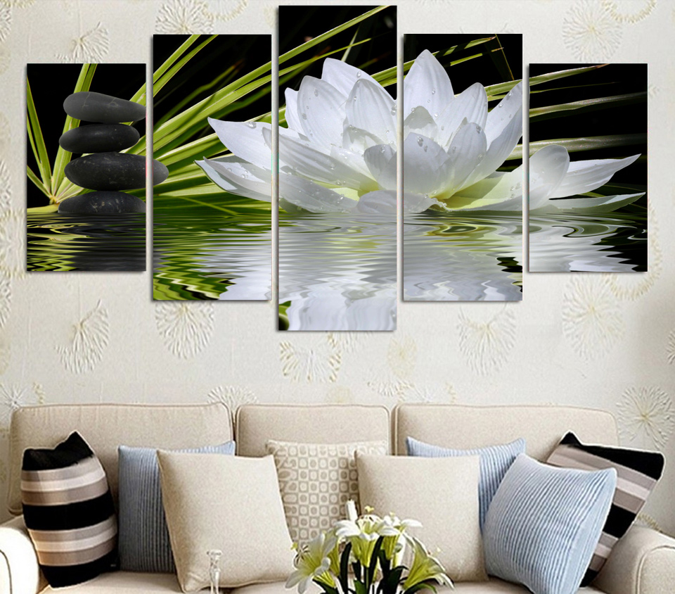 Promotion 5 Pieces/set Lotus And Stones Wall Art Pictures For Home ...