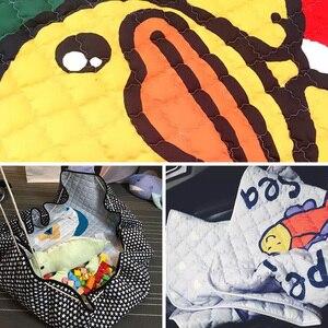 Image 4 - Portable Kids Toy Storage Bag And Play Mat Baby Crawling Blanket Mat/Rug/Carpet For Children   Soft Cartoon Toys Organizer Round