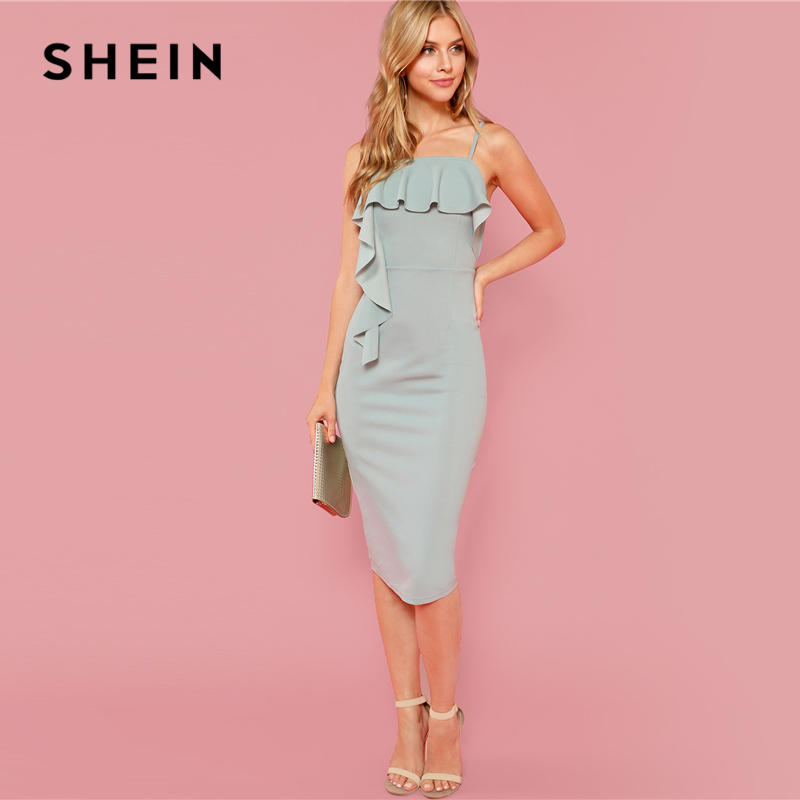 c96c04e604d04 SHEIN Green Party Elegant Flounce Embellished Fitted Ruffle Spaghetti Strap  Natural Waist Dress Summer Women Going Out Dresses