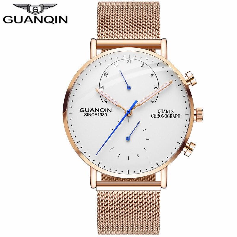 купить GUANQIN Quartz Chronograph Watch Man Luminous Gold Mens Watches Luxury Business Male Clock Stainless Steel Strap Wristwatches недорого