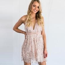 WAE YR HEART Party dress deep V with sequins tassel Saphetti mini sexy club 52dc36a1e096