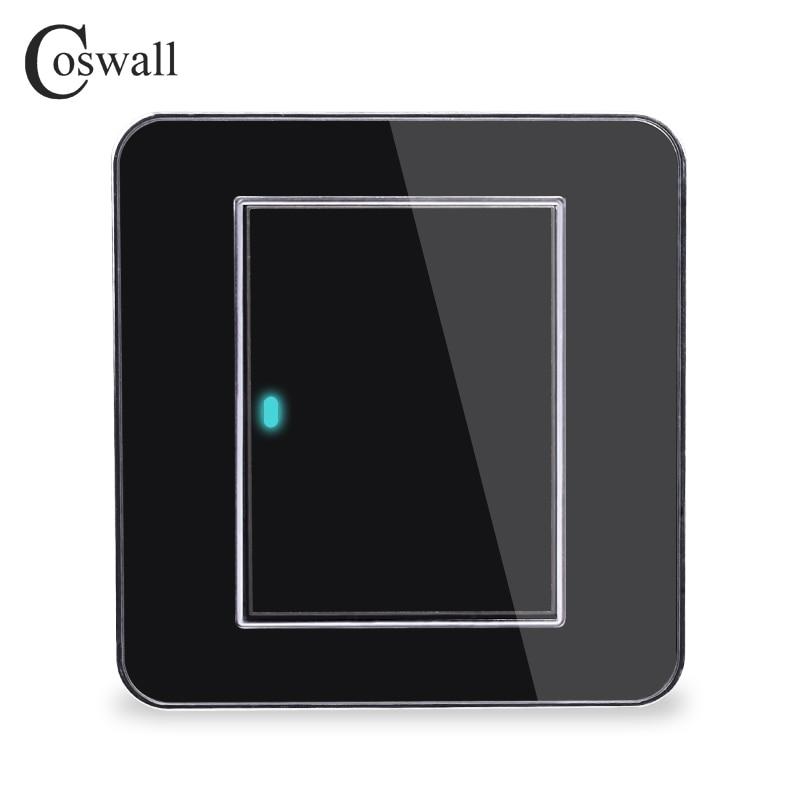 Hersteller Coswall Marke 1 Gang 2 Weg Gelegentliche Klicken Sie Auf/Off Wand Licht Schalter Mit Led-anzeige Acryl Kristall panel