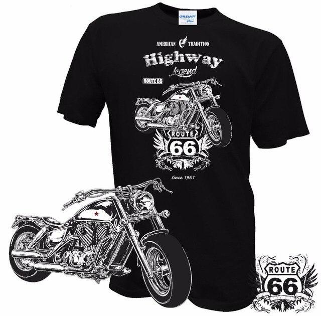 Camiseta 2019 nuevos hombres verano cuello redondo motociclista Ruta 66 Motorrad Rocker Chopper personalizado USA clásico diseño personalizado camisetas