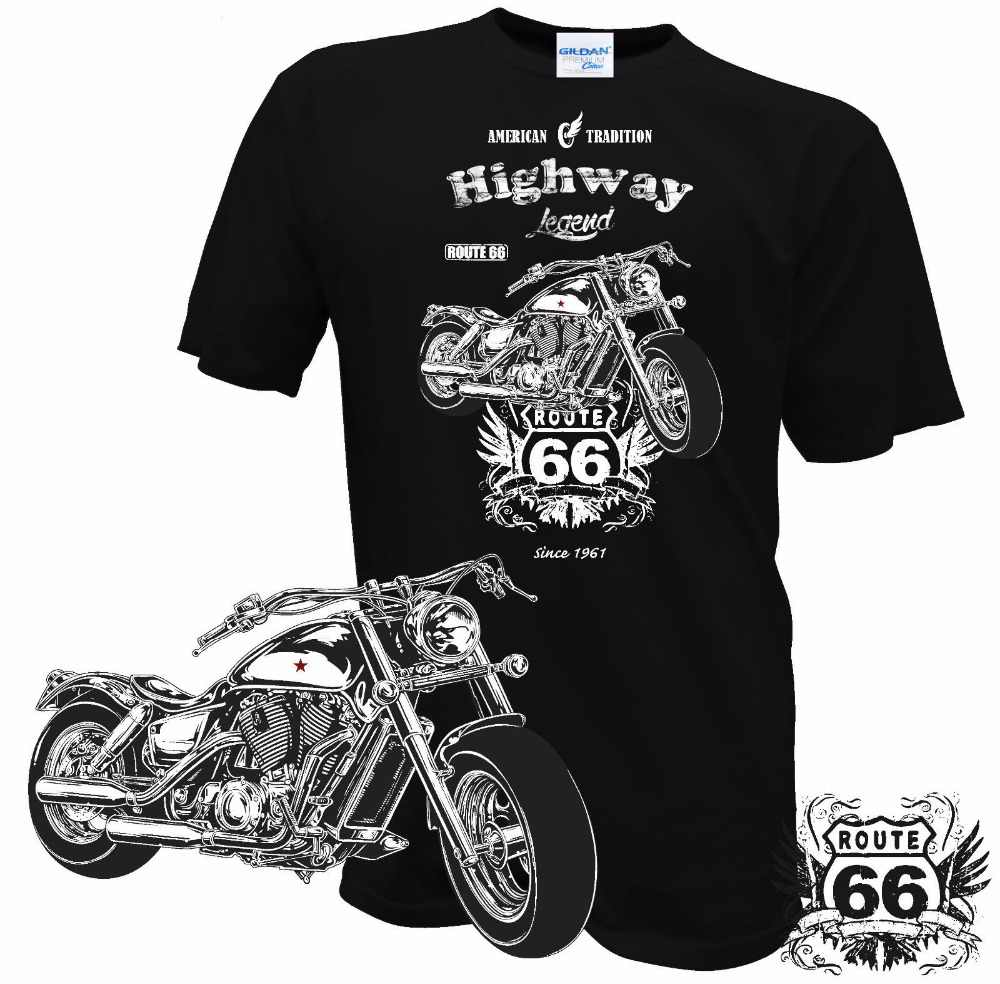 T Shirt 2019 Baru Pria Musim Panas Leher O Biker Rute 66 MOTORRAD Rocker Chopper Custom Amerika Serikat Klasik Desain Kustom T Shirt