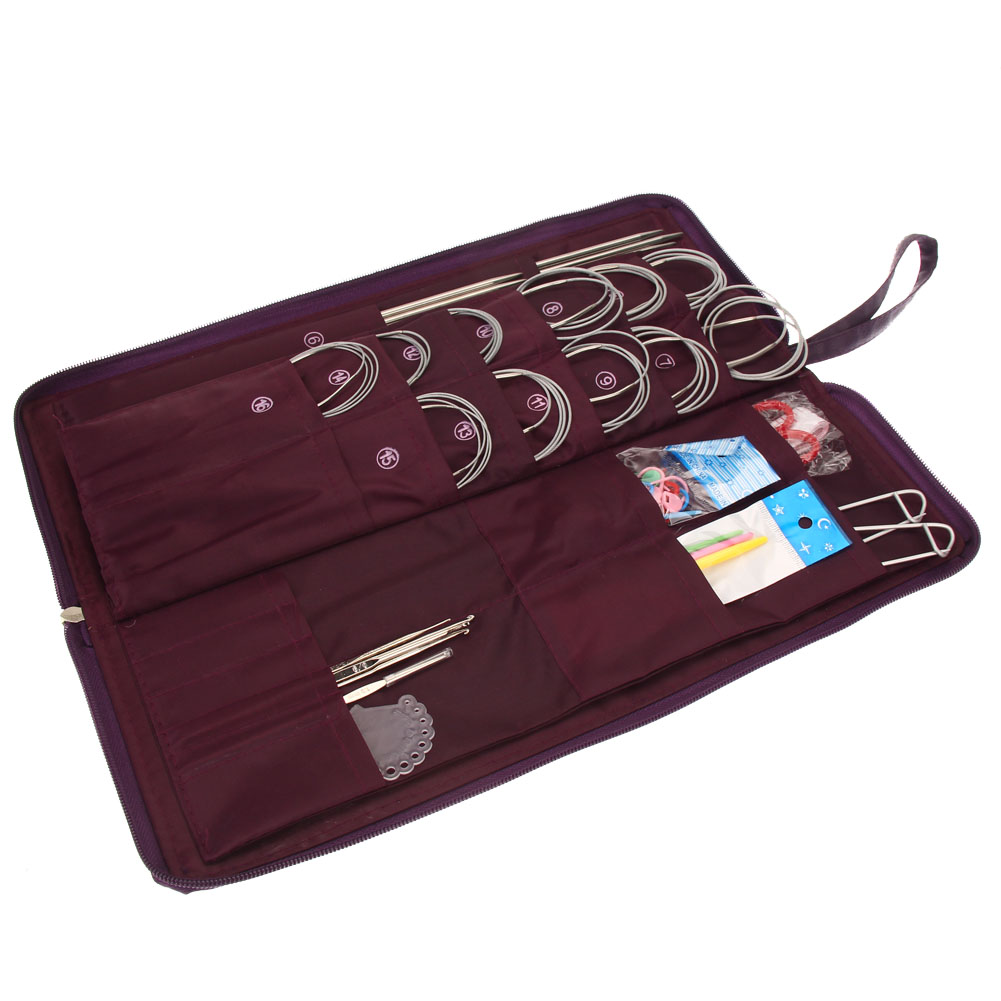 New Design Different Sizes 104pcs Stainless Steel Straight Circular Knitting Needles Crochet Hook Weave Set with Bag Supplies