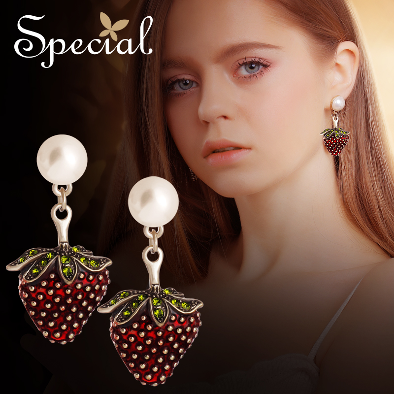 Special Fashion Strawberry Stud Earrings 925 Sterling-Silver Ear Pins Enamel Fruit Jewelry Lovely Gifts for Women S2798E