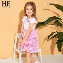 HE Hello Enjoy Girls Clothing Girls Dresses Cotton Cute Toddler Kid Baby Girl Bowknot Plaid Dress Party Princess Holiday Dress