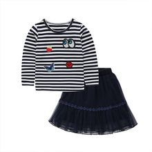 New Spring Summer Lovely Children Girls Casual Cotton Long Sleeve T- shirt + Skirt Fashion Suit LY4