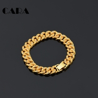 CARA New Arrival ladies Plated copper/Brass rhinestones chain bracelet womens stylish good quality Gold color bracelet CAGF0350