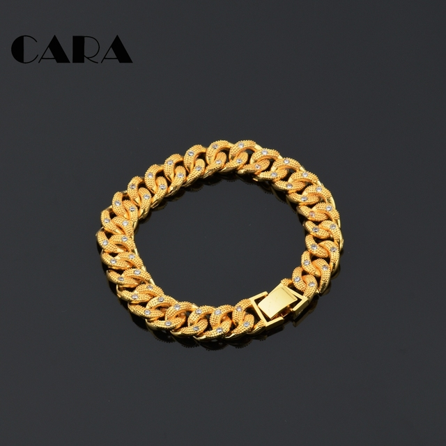 8a7eae0e03ee CARA New Arrival ladies Plated copper Brass rhinestones chain bracelet  womens stylish good quality Gold
