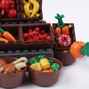Image 4 - Cidade blocos de construção peças pão frutas peixe caixa comida brinquedos para legoe cidade amigos blocos acessórios peças blocos de construção brinquedos