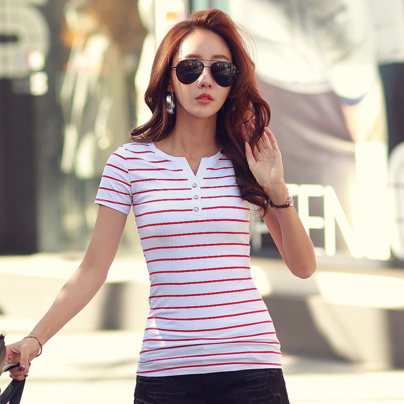 T-skjorte Femme 2018 Summer Striped T-Shirts Button V-Neck Short Sleeve Dame T-skjorte Female T-Shirt Women 5xl Plus Size Clothes