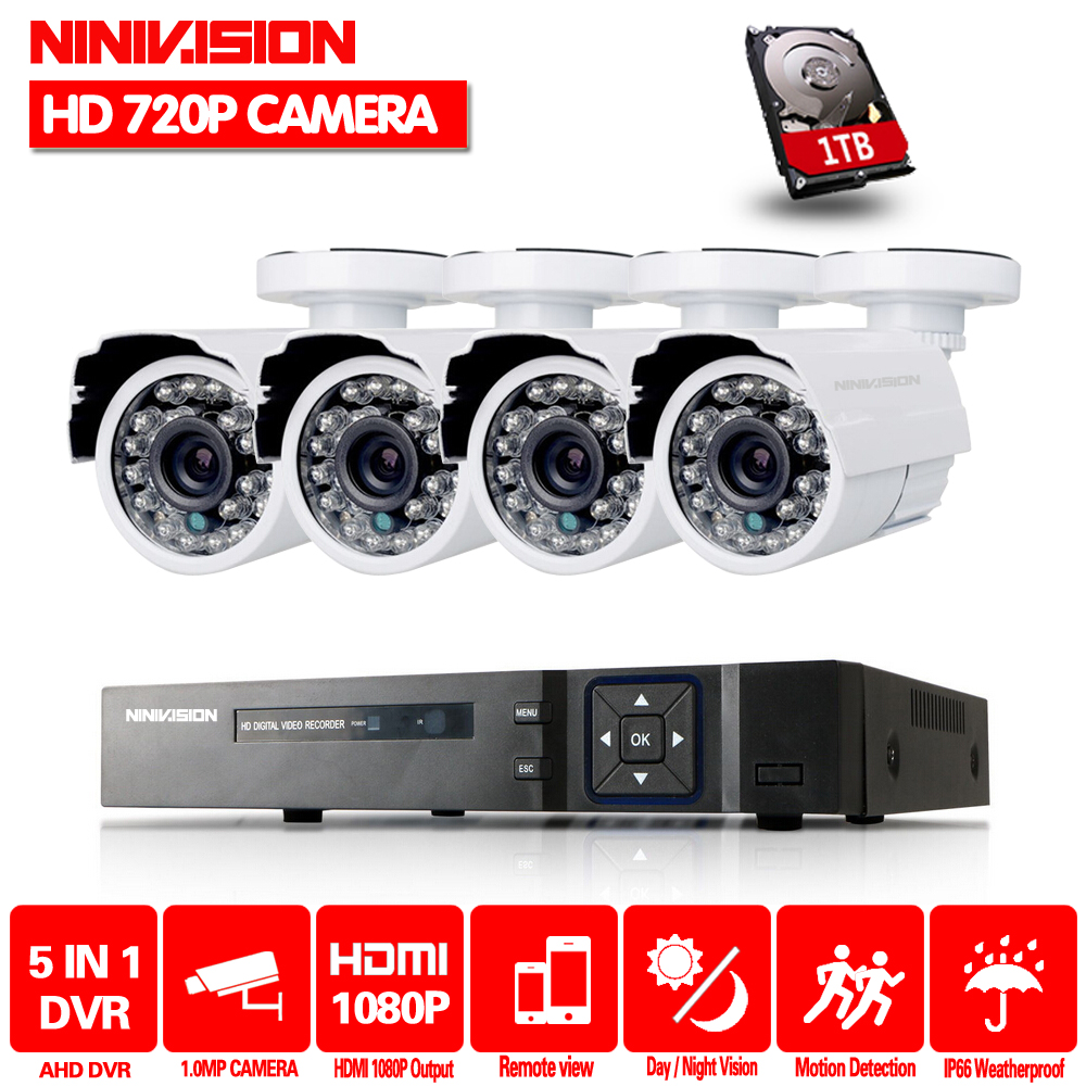 NINIVISION CCTV System 4 Channel 1080n 4CH CCTV Outdoor System 4CH 720P Surveillance CCTV AHD Security Wired Bullet Camera 1TB vga 4ch color cctv security camera quad processor remote control