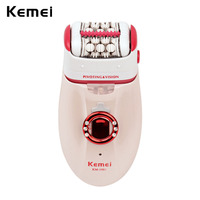 Kemei 3 in 1 Foot Callus Remover Lady Epilator Women Hair Shaving Machine Hair Removal Female Beauty Tools for Skin