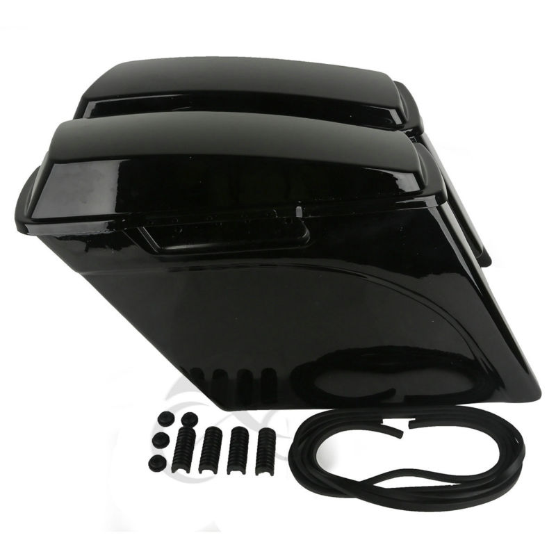"""5/"""" Stretched Extended Hard Saddlebags Trunk W// Lid For Harley Touring 1993-2013"""
