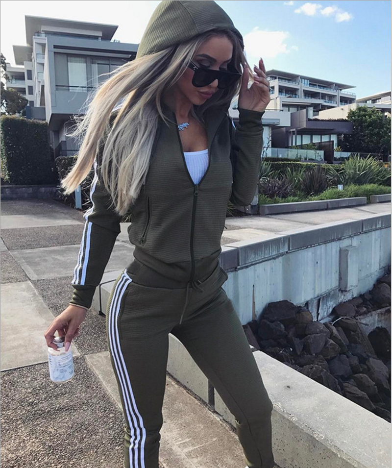 2018 Spring Stripe Female Tracksuit Long Sleeve Hoodies Outfits Two Piece Set Sweatshirts + Pants Suits Zipper Clothing Sets