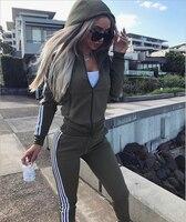 Весна 2018, женский спортивный костюм в полоску, толстовки с длинными рукавами, комплект из двух предметов, толстовки + штаны, костюмы, комплек...