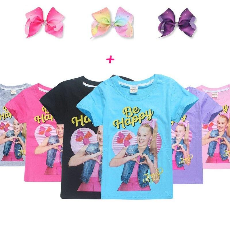 Summer Jojo Siwa Baby Girls Tshirts Short Sleeve T Shirts for Kids Bobo Choses T-shirt with Hair Bows Child Sport Clothes 4-12Y