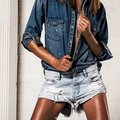 summer hot sell sexy loose short jeans girls hand made one tea fashion short pants washed swag