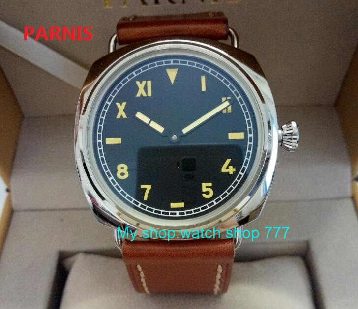 47mm parnis Black dial Asian 6497 17 jewels Mechanical Hand Wind movement men watch luminous Mechanical watches zdgd54a 44mm black sterile dial green marks relojes 6497 mens mechanical hand winding watch luminous armbanduhr cm164bk