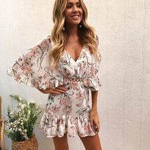 Lace Chiffon Beach Feminino Summer Dress New Elegant Ruffles V Neck Floral Print Hollow Out Bat Sleeve Mini Vestidos