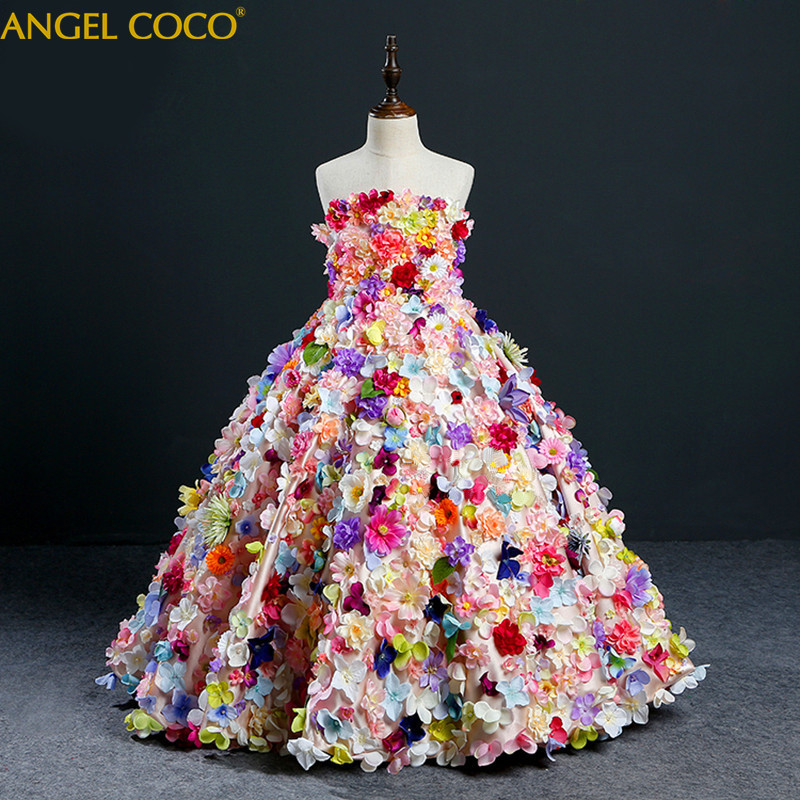Flower Girl Tutu Dress Birthday Party Wedding Princess Girls Dresses Floral Clothes Children Clothing Kids Girl Long Dress kids girls flower dress baby girl butterfly birthday party dresses children fancy princess ball gown wedding clothes