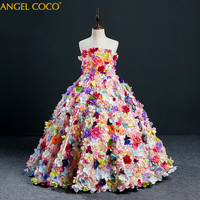 Flower Girl Tutu Dress Birthday Party Wedding Princess Girls Dresses Floral Clothes Children Clothing Kids Girl Long Dress