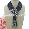 "50"" 3 Strands Black Pearl Abalone Shell Necklace  free shipment"