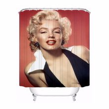 Custom Monroe Marilyn Bathroom Acceptable Shower Curtain Polyester Fabric Bathroom Curtain #180320-01-132(China)