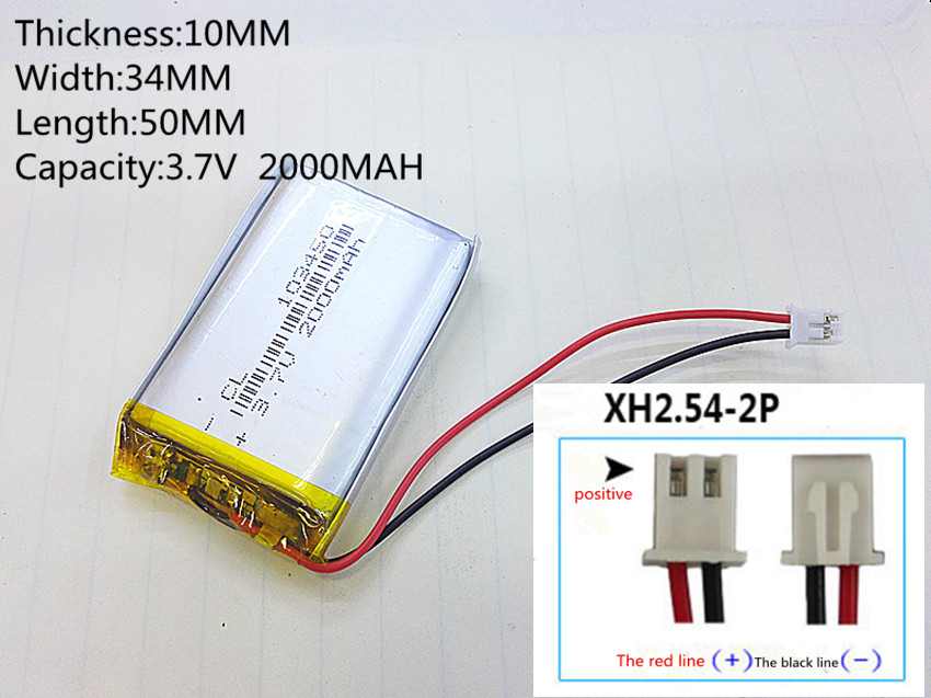 3.7V 2000mAh 103450 Lithium Polymer Rechargeable DIY Battery For Mp3 GPS mobile phone power bank electronic part Speaker LED
