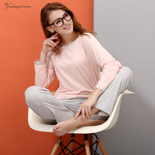 Yummydreams 2017 Women Autumn Winter Sleepwear Soft Comfortable Home Suit Women Cotton Pyjama Sleepwear Plus Size Pajamas Woman(China)