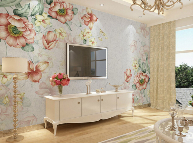 Custom Retro Wallpaper,Nostalgia Flowers,3D Art Murals For The Living Room  Dining Room