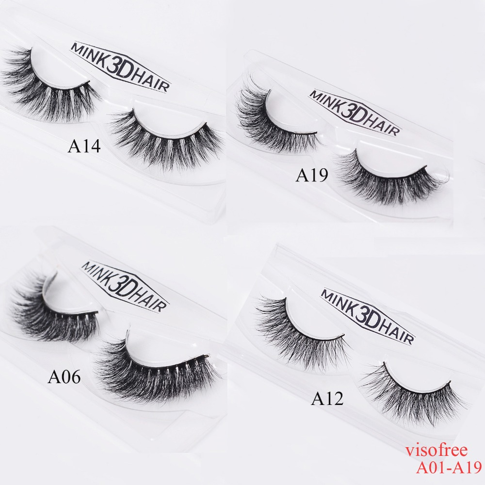 a2a8176d58c Visofree Eyelashes 3D Mink Eyelashes Crossing Mink Lashes Hand Made Full Strip  Eye Lashes A01 A19 (blank box available)