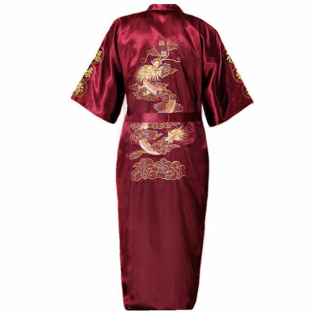 Mens Embroidery Robe Kimono Gown Nightgown Satin Sleepwear Bathrobe S-XXXL Burgundy