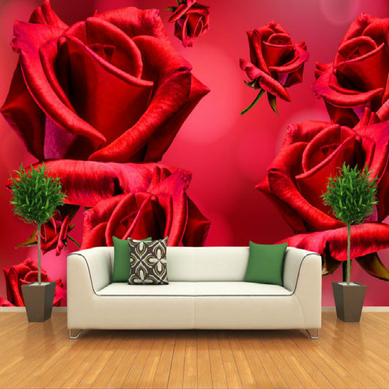 Fantasy red roses large living room bedroom wall painting mural 3D wallpaper TV backdrop stereoscopic 3D wallpaper pink romantic sakura reflection large mural wallpaper living room bedroom wallpaper painting tv backdrop 3d wallpaper