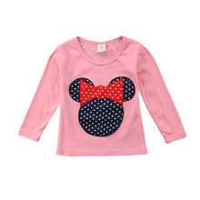 Lindo estampado de dibujos animados Mickey Minnie Mouse camisetas niños niñas Polka Dot manga larga Casual camiseta blusa blusas 2-6T(China)
