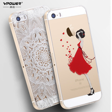 Vpower для крышки iphone 5s case роскошные прозрачный мягкий тпу 3d рельеф печати назад откидная крышка телефон сумка для iphone 5 5s SE