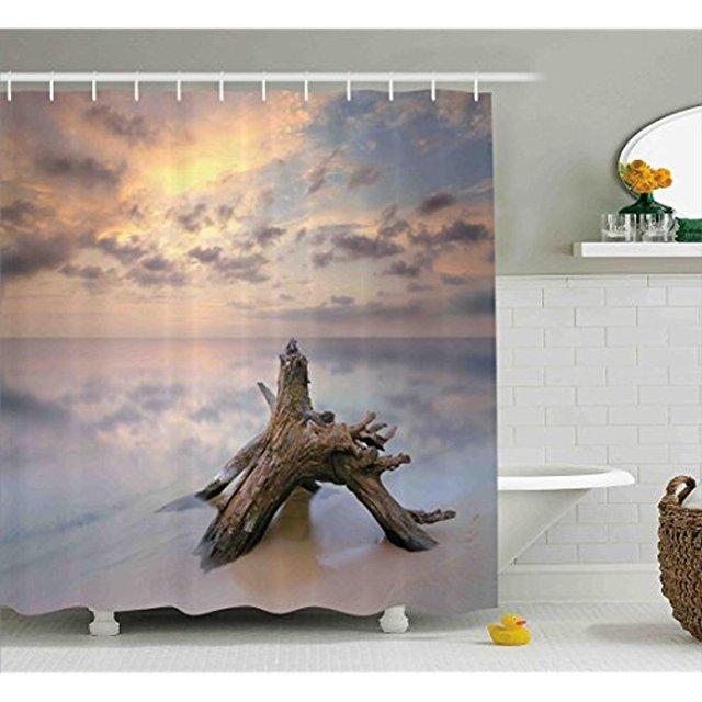 Vixm Driftwood Decor Shower Curtain Sunrise On The Water And Sandy Beach Digital