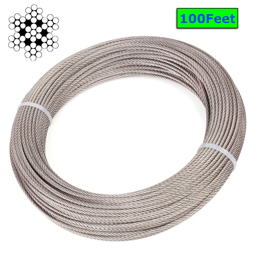 1/8 Inch Stainless Steel Aircraft Wire Rope for Deck Cable Railing Kit,7x7 100/164Feet T316 Marine Grade
