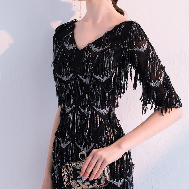 Sequin Cocktail Dress weiyin Black 1/2 Long Sleeves Sequined Cocktail Dresses Mini Short Straight  Party Evening Gowns Formal Prom Dresses WY749 -in Cocktail Dresses from  Weddings ...