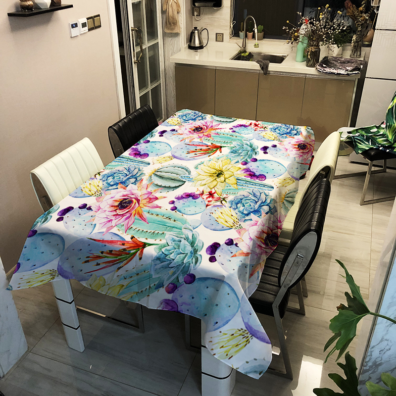 3d Tablecloth Digital Printing Cactus Pattern Polyester Waterproof Table Cloth for Wedding Party Table Cover image
