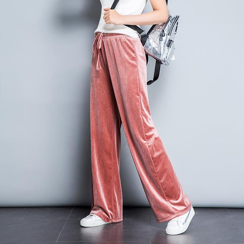 Autumn Spring Pleuche Women Pants 2018 High Quality Lace-Up Waist Wide Leg Trouseres And Ladies Casual High Waist Sweatpants 6