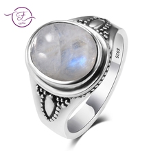 Vintage Style 925 Sterling Silver Oval Natural Moonstone Rings For Women Wedding Engagement Jewelry Finger Anillos Bague Aneis