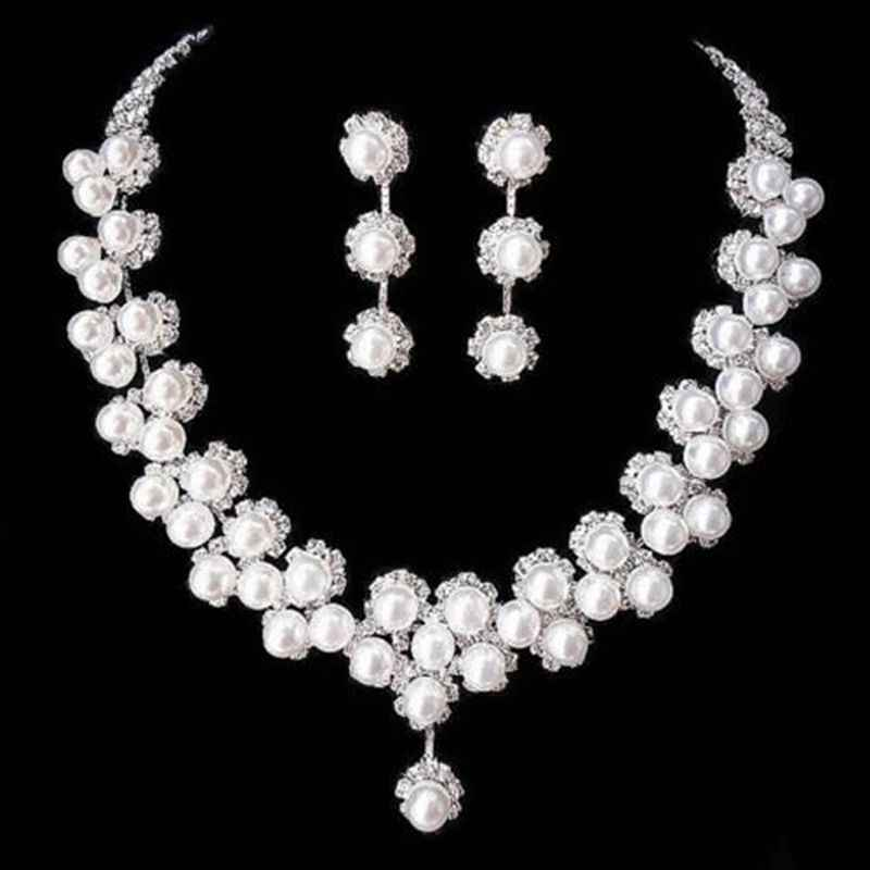 Wedding Bridal Rhinestone Crystal Pearl Necklace Earring Pendant Jewelry Sets