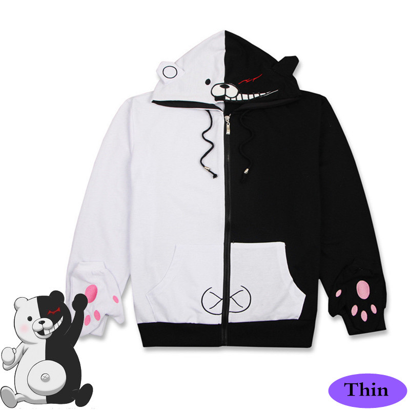 Anime/Game Danganronpa: Trigger Happy Havoc V3 Costumes Monokuma Cosplay Sweatshirts Hoodies Black White Unisex Tops Thin Coat